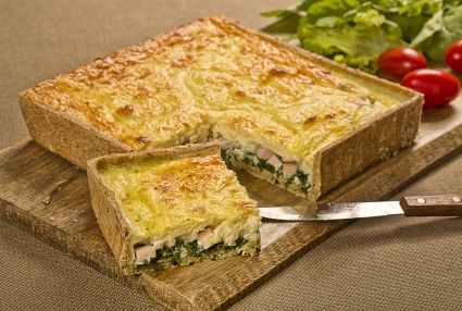 Quiche de peito de peru e cottage